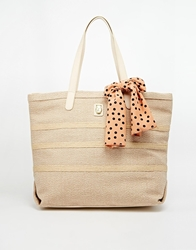 Nica Linen Tote Bag With Scarf Bow