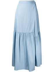 H Beauty And Youth Ruffled A Line Skirt Blue