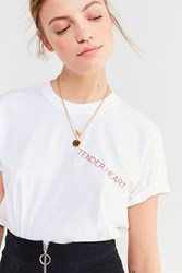 Urban Renewal Recycled Tender Heart Embroidered Tee White