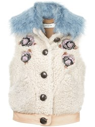 Coach Embellished Shearling Vest Neutrals