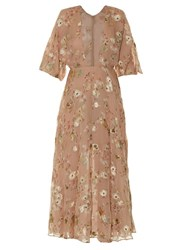 Valentino Floral Fil Coupe Midi Dress Light Pink