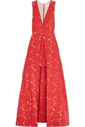 Alice Olivia Francis Embroidered Crepe Gown Us12