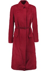 Donna Karan Belted Alpaca And Silk Blend Coat Red