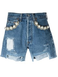 Forte Couture Embellished Destroyed Denim Shorts Blue