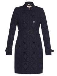 Burberry Kensington Broderie Anglaise Trench Coat Navy