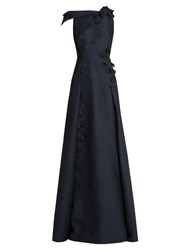 Roland Mouret Rocher Floral Embroidered Embossed Organza Gown Navy