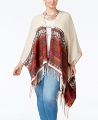 Love Squared Trendy Plus Size Poncho Cardigan Taupe Rust