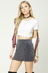 Forever 21 Corduroy Mini Skirt Dark Grey