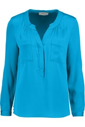 Milly Brooke Stretch Silk Blouse Blue