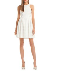 Trina Turk Lace Fit And Flare Dress Whitewash
