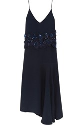 Biyan Ananda Asymmetric Embellished Guipure Lace Trimmed Crepe Dress Navy