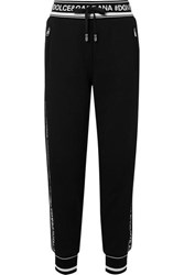 Dolce And Gabbana Intarsia Trimmed Cotton Jersey Track Pants Black