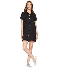 Allen Allen Short Sleeve Button Front Dress Black