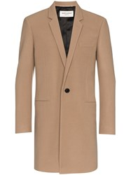 Saint Laurent Single Breasted Virgin Wool Cashmere Blend Overcoat Nude And Neutrals