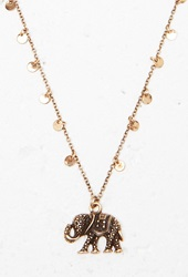 Forever 21 Etched Elephant Charm Necklace Antic Gold