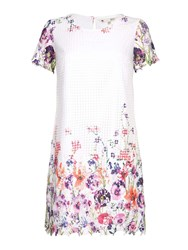 Yumi Embroidered Floral Print Dress Cream