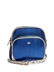 F.E.V. By Francesca E. Versace Bon Bon Snakeskin Cross Body Bag Blue Multi