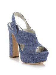 Alice Olivia Larissa Denim Platform Slingbacks Blue