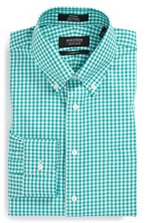 Men's Big And Tall Nordstrom Non Iron Classic Fit Gingham Dress Shirt Green Emerald