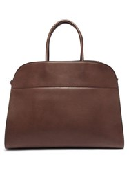 The Row Margaux 17 Large Leather Tote Bag Dark Brown
