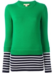 Michael Kors Striped Hem Jumper Green