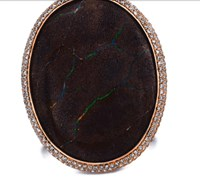 Susan Foster 18K Rose Gold Boulder Lava Opal Ring With Champagne Diamonds Multi