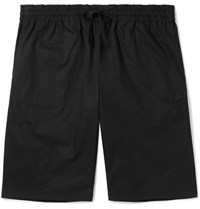 Bottega Veneta Wide Leg Cotton Blend Twill Drawstring Shorts Black