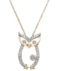 Macy's 14K Gold Pendant Diamond Accent Owl