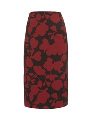Oscar De La Renta Floral Brocade Pencil Skirt Burgundy