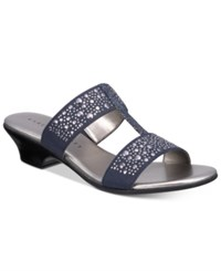 Karen Scott Eddina Embellished Slide Sandals Only At Macy's Women's Shoes Navy