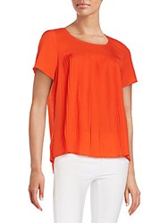 French Connection Polly Pleat Front Top Masai Red