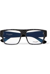 Saint Laurent Square Frame Glittered Acetate Optical Glasses Black