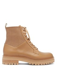 Gianvito Rossi Lace Up Leather Ankle Boots Tan