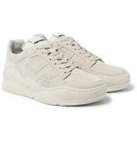 Ami Alexandre Mattiussi Leather Trimmed Suede Sneakers Cream