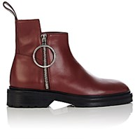 Paco Rabanne Women's Side Zip Ankle Boots Burgundy Red Burgundy Red