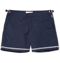 Orlebar Brown Bulldog Mid Length Stripe Trimmed Swim Shorts Navy