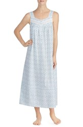 Eileen West Cotton Lawn Nightgown White Grnd Atmn Teal Geo