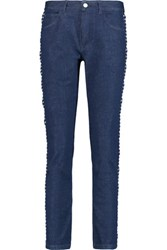 See By Chloe Mid Rise Macrame Lace Trimmed Slim Leg Jeans Mid Denim