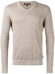 Michael Kors Classic V Neck Jumper Men Cotton Linen Flax Xl Green