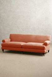 Anthropologie Belgian Linen Willoughby Sofa Hickory Apricot