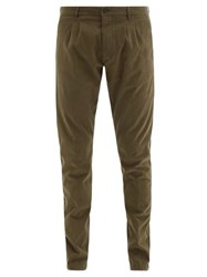 Altea Pleated Brushed Cotton Blend Twill Chinos Khaki