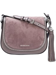 Michael Michael Kors 'Brooklyn' Saddle Crossbody Bag Grey