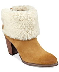Tommy Hilfiger Katelynn Cuffed Faux Fur Booties Women's Shoes Cognac Orange