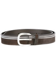 Orciani Striped Belt Brown