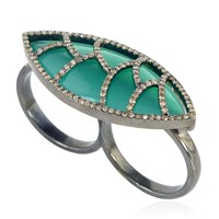 Meghna Jewels Green Onyx And Diamonds Bora Bora Ring