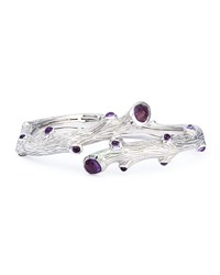 Silver Twig Bangle With Amethyst Michael Aram Purple