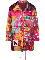 Kansai Yamamoto Vintage Printed Padded Coat Pink And Purple