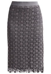 Cream Carrie Pencil Skirt Deep Grey Dark Gray