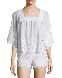Miguelina Brenna Geometric Embroidered Top Pure White