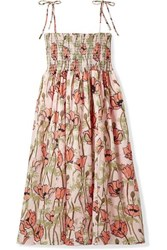 Tory Burch Smocked Floral Print Cotton Voile Midi Dress Pink